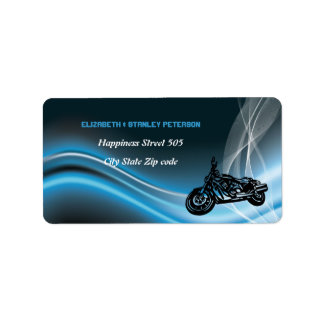 Etiqueta de dirección azul del boda del motorista