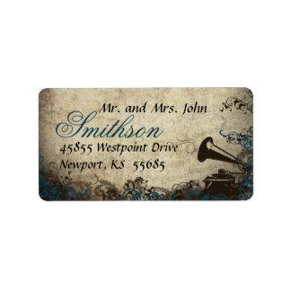 Etiqueta de dirección azul del boda del vintage de