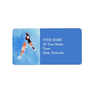 Etiqueta de dirección azul flotante de Koi