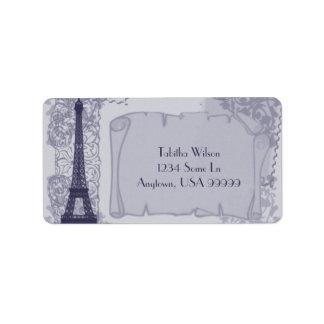 Etiqueta de dirección azul parisiense