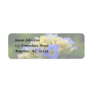 Etiqueta de dirección azul suave de la flor del Hy