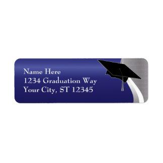Etiqueta de dirección azul y de plata de la gradua