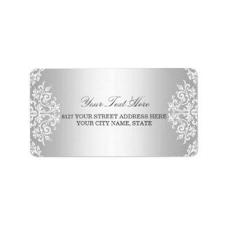 Etiqueta de dirección blanca de plata del encanto
