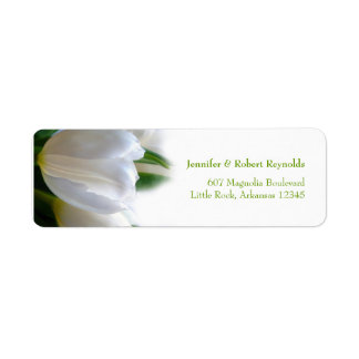 Etiqueta de dirección blanca del boda