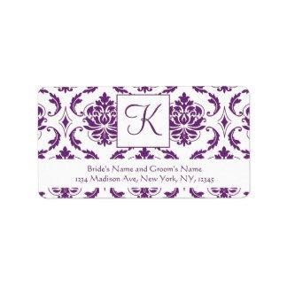 Etiqueta de dirección blanca púrpura del boda del
