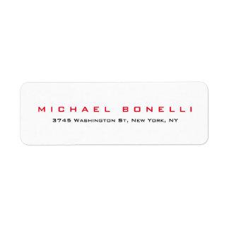 Etiqueta de dirección blanca roja legible llana