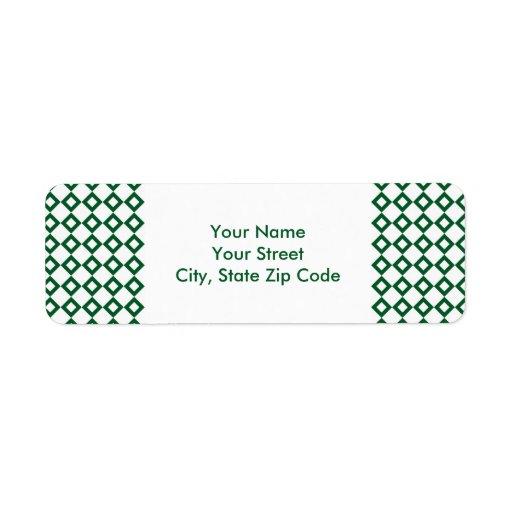 Etiqueta de dirección blanca y verde del modelo de
