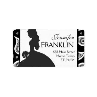 Etiqueta de dirección blanco y negro de la novia d