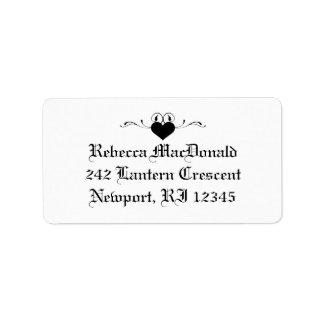 Etiqueta de dirección blanco y negro gótica