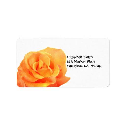 Etiqueta de dirección color de rosa anaranjada