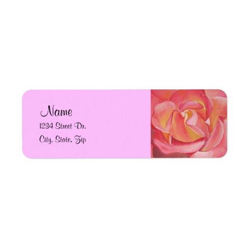 Etiqueta de dirección color de rosa de la pintura