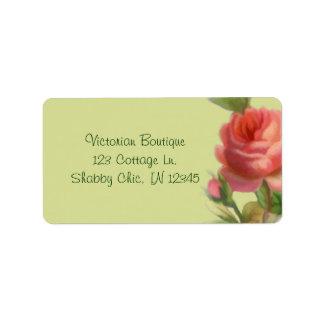 Etiqueta de dirección color de rosa suave