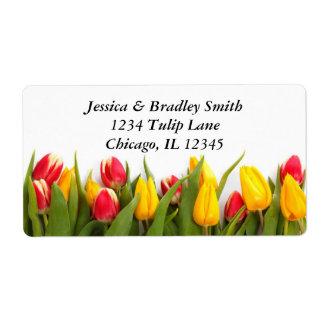 Etiqueta de dirección colorida de los tulipanes