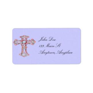 Etiqueta de dirección cruzada cristiana