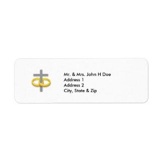 Etiqueta de dirección cruzada de la boda