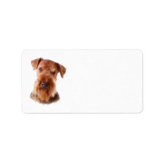 Etiqueta de dirección de Airedale Terrier