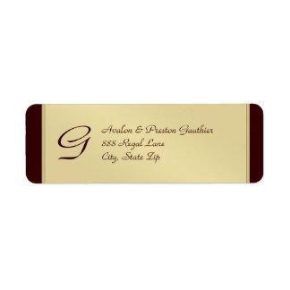 Etiqueta de dirección de Brown del metal del oro d