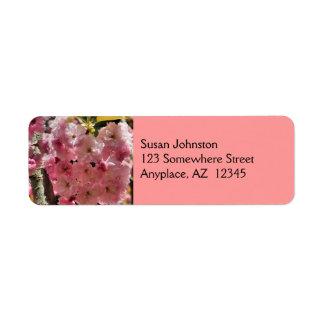 Etiqueta de dirección de color rosa oscuro de la f