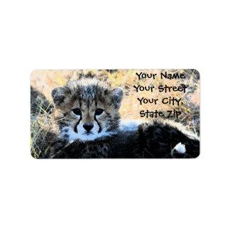 Etiqueta de dirección de Cub del guepardo