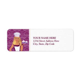 Etiqueta de dirección de Cupcakery del damasco