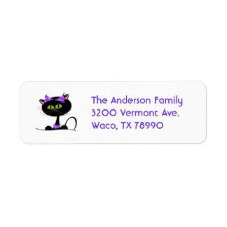Etiqueta de dirección de encargo del gato negro
