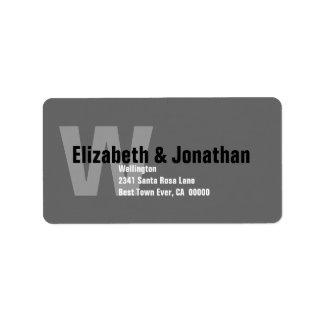 Etiqueta de dirección de encargo moderna gris y bl