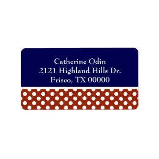 Etiqueta de dirección de encargo roja, blanca, y a