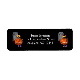 Etiqueta de dirección de Halloween de la piedra se