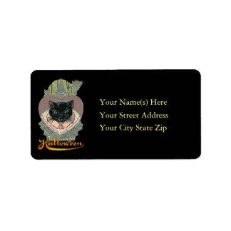 Etiqueta de dirección de Halloween del gato negro