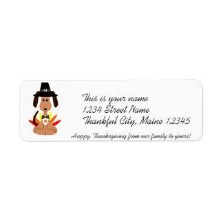 Etiqueta de dirección de la acción de gracias
