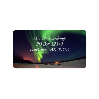 Etiqueta de dirección de la aurora boreal