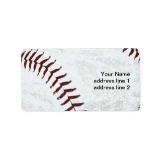 etiqueta de dirección de la bola del béisbol del