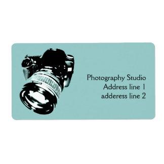 Etiqueta de dirección de la cámara de la foto de D
