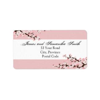 Etiqueta de dirección de la flor de cerezo - boda