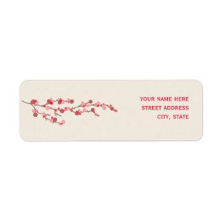 Etiqueta de dirección de la flor de cerezo de la a