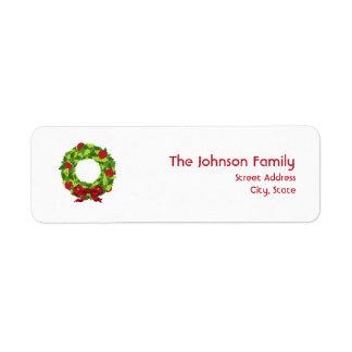 Etiqueta de dirección de la guirnalda del navidad