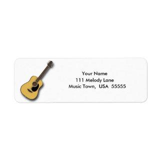 Etiqueta de dirección de la guitarra acústica