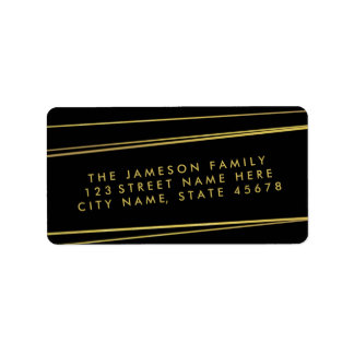Etiqueta de dirección de la hoja de oro/negro