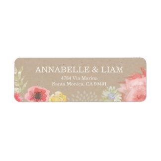 Etiqueta de dirección de la invitación del boda