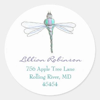 Etiqueta de dirección de la libélula