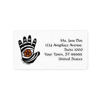 Etiqueta de dirección de la mano del pentáculo