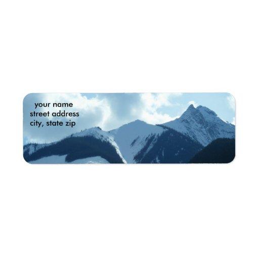 Etiqueta de dirección de la montaña