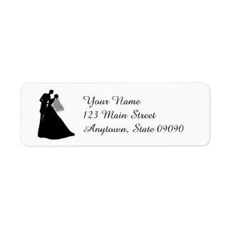 Etiqueta de dirección de la novia y del novio de
