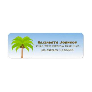 Etiqueta de dirección de la palmera