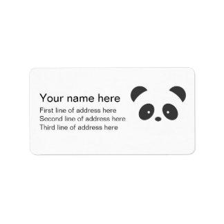 Etiqueta de dirección de la panda