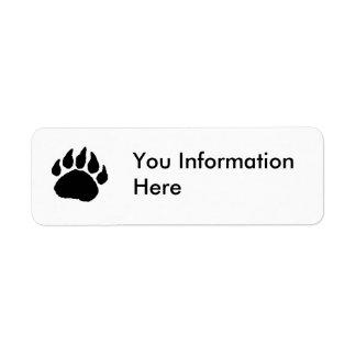 Etiqueta de dirección de la pata de oso