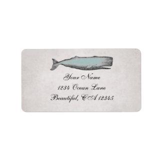 Etiqueta de dirección de la playa de la ballena de