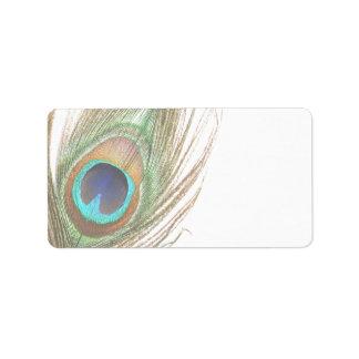 Etiqueta de dirección de la pluma del pavo real