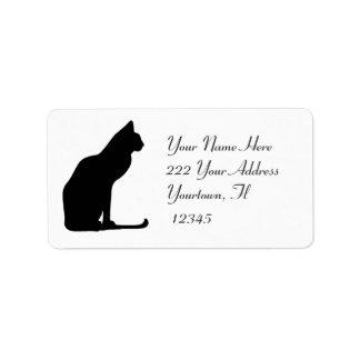 Etiqueta de dirección de la silueta del gato