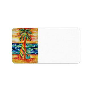 Etiqueta de dirección de la tabla hawaiana y de la